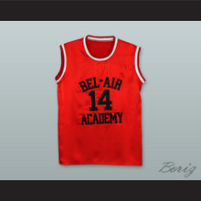 The Fresh Prince of Bel-Air Will Smith Bel-Air Academy Red Silk Basketball Jersey