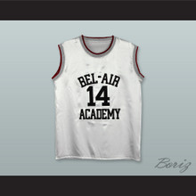 The Fresh Prince of Bel-Air Will Smith Bel-Air Academy White Silk Basketball Jersey 2