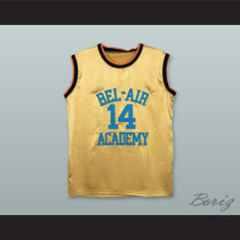 The Fresh Prince of Bel-Air Will Smith Bel-Air Academy Gold Silk Basketball Jersey