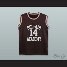 The Fresh Prince of Bel-Air Will Smith Bel-Air Academy Brown Silk Basketball Jersey
