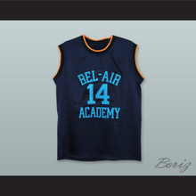 The Fresh Prince of Bel-Air Will Smith Bel-Air Academy Dark Blue Silk Basketball Jersey