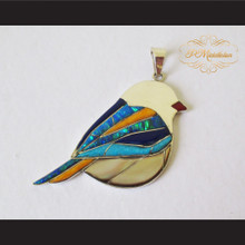 P Middleton Finch Bird Pendant Sterling Silver .925 with Micro Inlay Stones