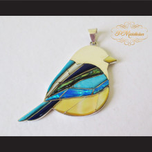 P Middleton Finch Bird Pendant Sterling Silver .925 with Micro Stone Inlays