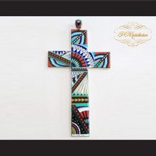 P Middleton Cross Pendant Sterling Silver .925 with Micro Stone Inlays