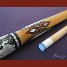Boriz Billiards Snake Skin Grip Pool Cue Stick Original Inlay Artwork 037