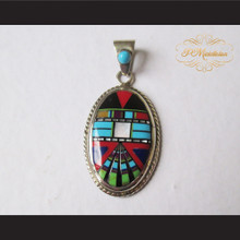 P Middleton Kachina Face Oval Pendant Sterling Silver .925 with Micro Inlay Stones