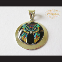 P Middleton Small Owl Pendant Sterling Silver .925 with Micro Stone Inlay