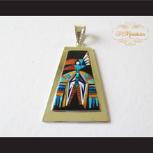P Middleton Large Thunderbird Pendant Sterling Silver .925 with Micro Stone Inlay