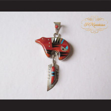 P Middleton Red Bear Feather Pendant Sterling Silver .925 with Micro Inlay Stones