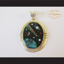 P Middleton Shooting Star Pendant Sterling Silver .925 with Micro Inlay Stones