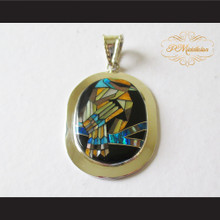 P Middleton Large Tree Bird Pendant Sterling Silver .925 with Micro Stone Inlay