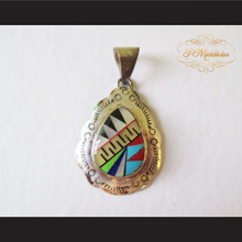 P Middleton Zig Zag Egg Shape Pendant Sterling Silver .925 with Micro Stone Inlay