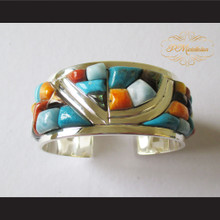 P Middleton Mutiple Stone Cuff Bracelet Sterling Silver .925