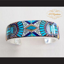 P Middleton Sun God Micro Inlay Cuff Bracelet Sterling Silver .925 with Micro Inlay Stones
