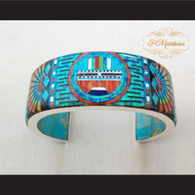 P Middleton Sun Face Cuff Bracelet Sterling Silver .925 with Micro Inlay Stones