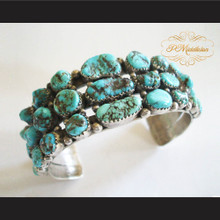 P Middleton Turquoise Cluster Cuff Bracelet Sterling Silver .925 with Semi-Precious Stones
