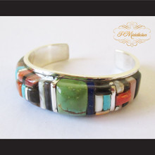 P Middleton Raised Multiple Stones Cuff Bracelet Sterling Silver .925 with Semi-Precious Stones
