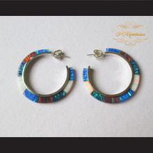 P Middleton Multi-Colored Hoop Earrings Sterling Silver .925
