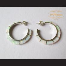 P Middleton Opal Hoop Earrings Sterling Silver .925