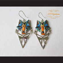 P Middleton Wolf Earrings Sterling Silver .925 with Micro Inlay Stones