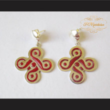 Teen Wolf Celtic Five-Fold Knot Earrings Sterling Silver .925 with Red Jasper
