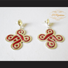Teen Wolf Celtic Five-Fold Knot Earrings Sterling Silver .925 with Red Jasper Bezel