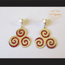 Teen Wolf Derek's Triskelion Earrings Sterling Silver .925 with Red Jasper Bezel
