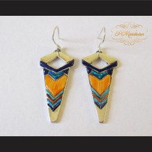 P Middleton Arrow Shape Earrings Sterling Silver .925 with Micro Stone Inlay