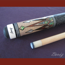 Boriz Billiards Linen Grip Pool Cue Stick Original Inlay Artwork 046