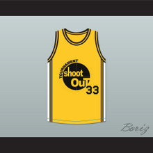 Yellow Tournament Shoot Out Basketball Jersey Above The Rim