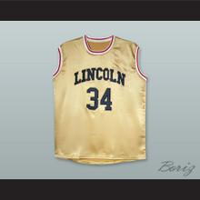 Jesus Shuttlesworth 34 Lincoln Gold Silk Basketball Jersey