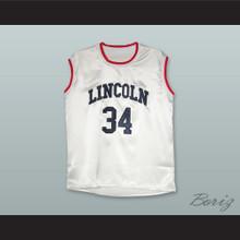 Jesus Shuttlesworth 34 Lincoln White Silk Basketball Jersey