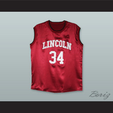 Jesus Shuttlesworth 34 Lincoln Maroon Silk Basketball Jersey