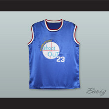 Michael Jordan 23 Tournament Shoot Out Blue Silk Basketball Jersey