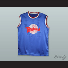 Michael Jordan 23 Tune Squad Blue Silk Basketball Jersey