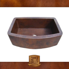 Copper Valley Farmhouse Sink 14 Gauge Curved Apron Kitchen Sink