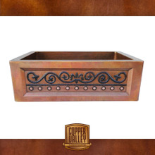 Copper Valley Farmhouse Sink 14 Gauge Vintage Scroll Design Kitchen Sink