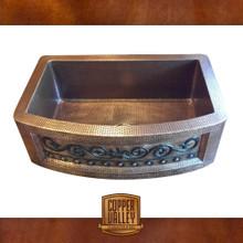 Copper Valley Farmhouse Sink 14 Gauge Scroll Design Curved Apron Kitchen Sink