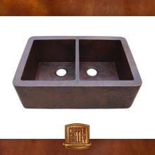 Copper Valley Farmhouse Sink 14 Gauge 50/50 Split Kitchen Sink