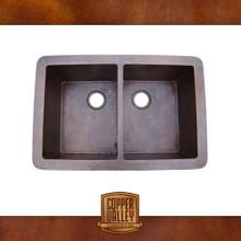 Copper Valley Farmhouse Sink 16 Gauge 50/50 Split Self Rimming Kitchen Sink