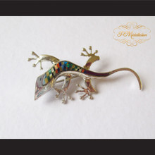 P Middleton Gecko Brooch Pin Sterling Silver .925 with Micro Inlay Stones A1