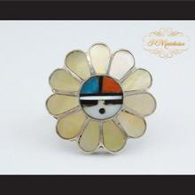P Middleton Sterling Silver .925 Inlay Tewa Sun Ring