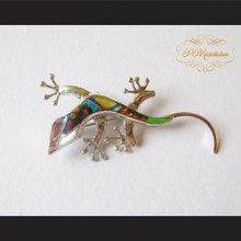 P Middleton Gecko Brooch Pin Sterling Silver .925 with Micro Inlay Stones A2