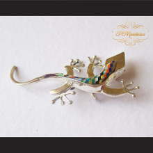P Middleton Gecko Brooch Pin Sterling Silver .925 with Micro Inlay Stones A8