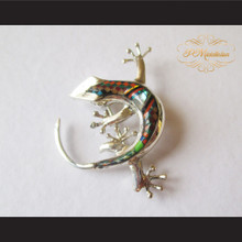 P Middleton Gecko Brooch Pin Sterling Silver .925 with Micro Inlay Stones B3
