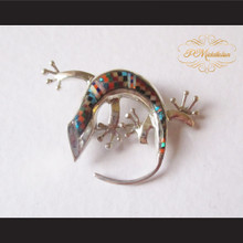 P Middleton Gecko Brooch Pin Sterling Silver .925 with Micro Inlay Stones B7