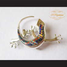P Middleton Gecko Brooch Pin Sterling Silver .925 with Micro Inlay Stones B9