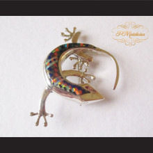 P Middleton Gecko Brooch Pin Sterling Silver .925 with Micro Inlay Stones B10