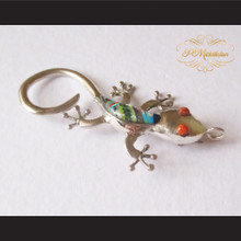 P Middleton Gecko Brooch Pin Sterling Silver .925 with Micro Inlay Stones C4