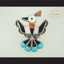 P Middleton Mosaic Inlay Thunderbird Sterling Silver .925 Brooch Pin
